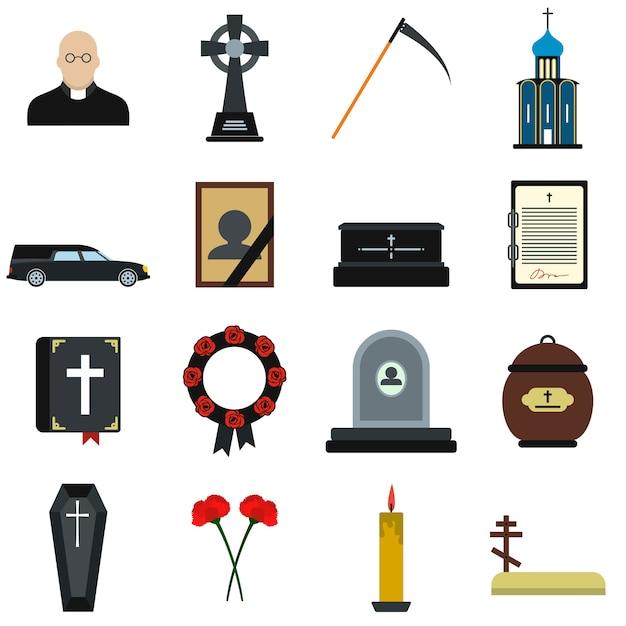 葬儀と埋葬のフラット要素セット分離 Premiumベクター