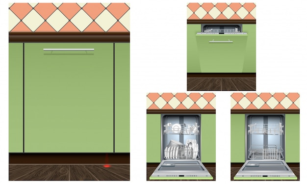 食器洗い機のアイコンを設定します。現実的な分離セット食器洗い機機ベクトルアイコン Premiumベクター