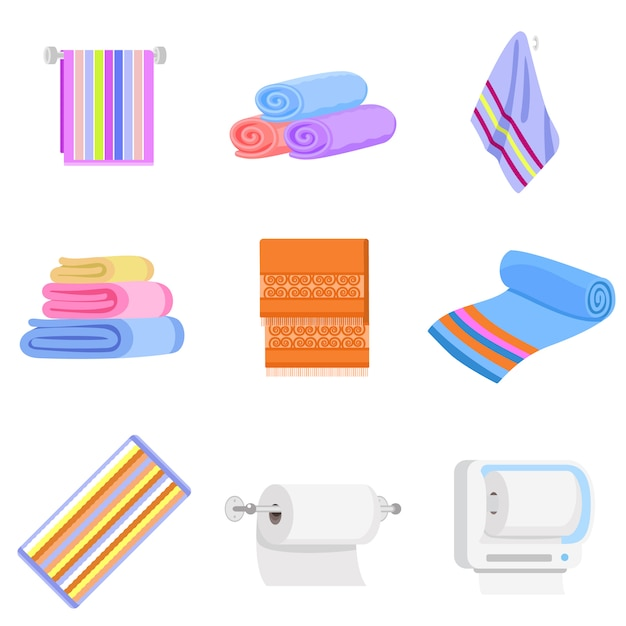 タオルのアイコンを設定します。タオルベクトルのフラットセット Premiumベクター