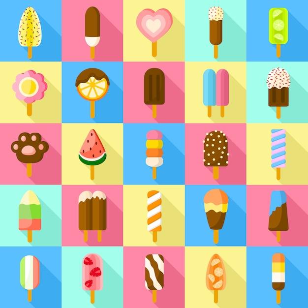 Набор иконок сладкий эскимо. плоский набор сладкого эскимо вектора Premium векторы