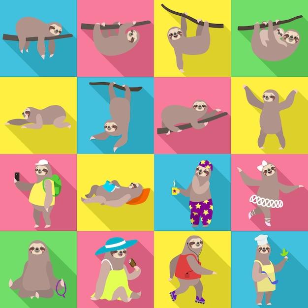Набор символов ленивца. плоский набор ленивца вектора Premium векторы