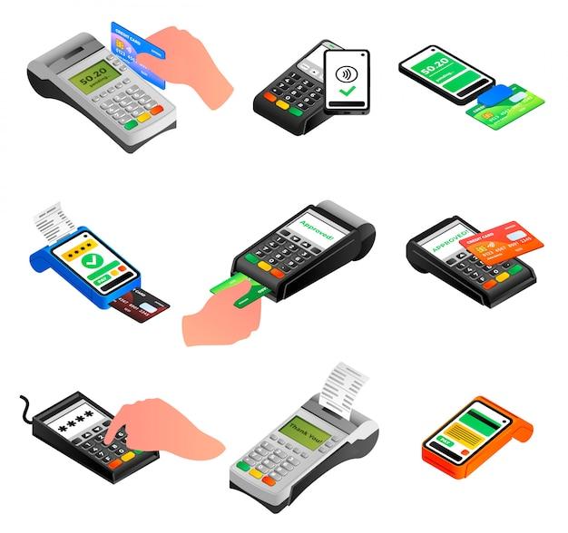 銀行端末のアイコンを設定します。分離された銀行ターミナルベクトルアイコンの等尺性セット Premiumベクター
