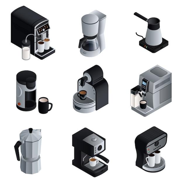 コーヒーメーカーセット。コーヒーメーカーのベクトルの等尺性セット Premiumベクター