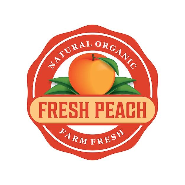 Свежий персик дизайн логотипа Premium векторы