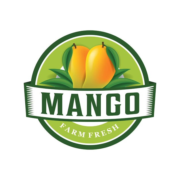 Шаблон логотипа фермы манго Premium векторы