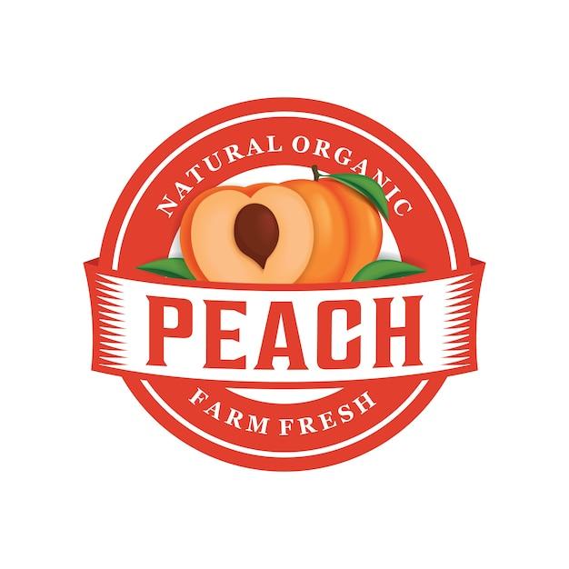 Персиковая ферма свежий логотип шаблон Premium векторы