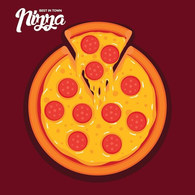 Вкусная пицца пепперони векторная иллюстрация Premium векторы
