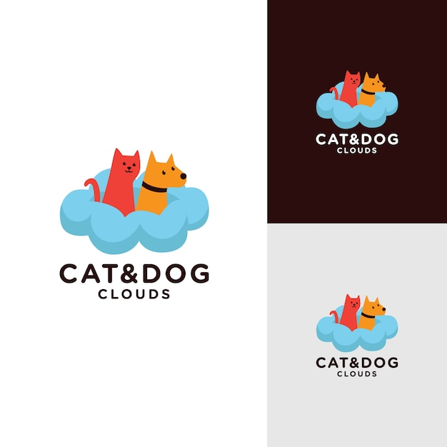 猫と犬のロゴデザイン Premiumベクター