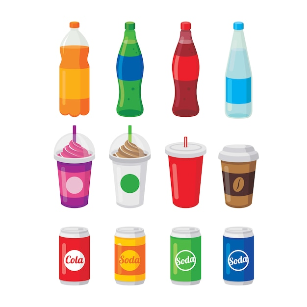 Различные безалкогольные напитки в бутылках и банках, стакан кофе и колы векторная иллюстрация Premium векторы