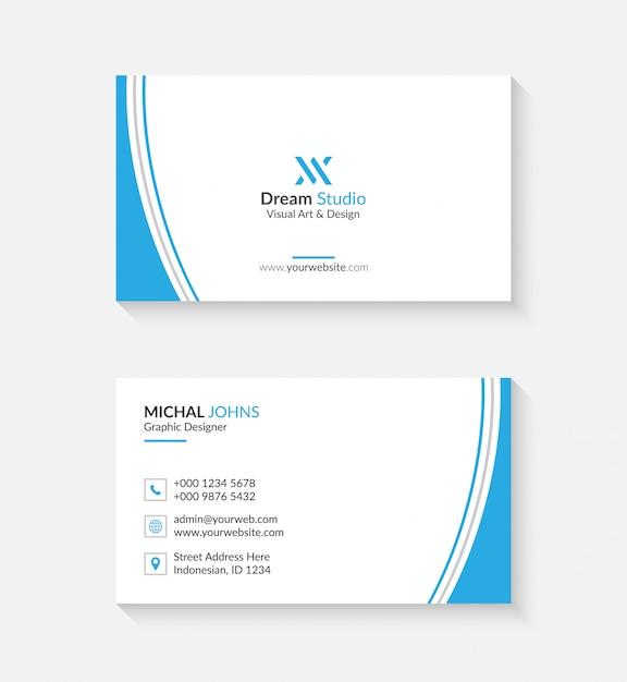 あなたのビジネスのためのロゴまたはアイコン付きのシンプルな名刺 Premiumベクター