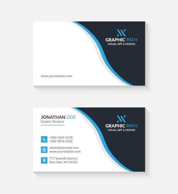 あなたのビジネスのためのロゴやアイコン付きのシンプルな名刺 Premiumベクター