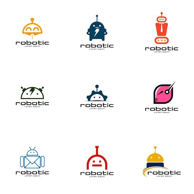 Набор роботизированных логотипов Premium векторы