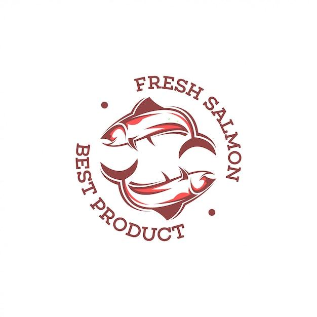 サーモンのロゴのテンプレート。 Premiumベクター