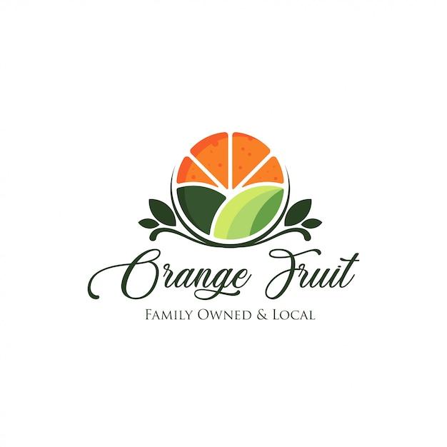 新鮮なオレンジ色の果物のロゴ Premiumベクター