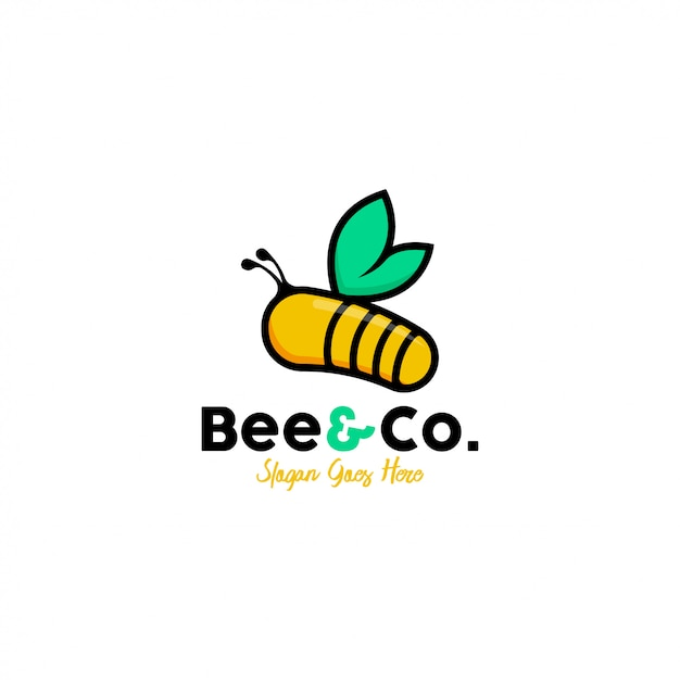 蜂のロゴのテンプレートベクトル Premiumベクター