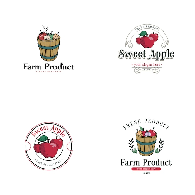 Урожай яблочный логотип Premium векторы