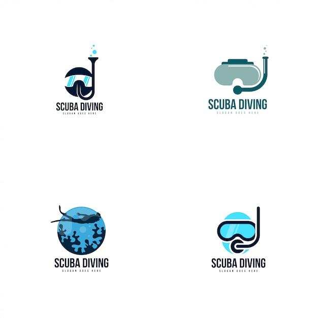 Логотип подводного плавания Premium векторы