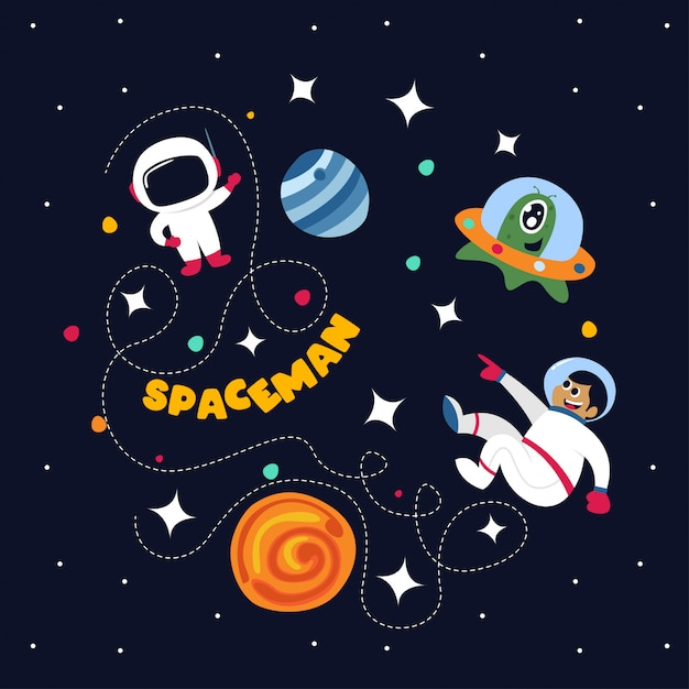Милый космонавт в космосе с некоторыми планетами и звездами Premium векторы