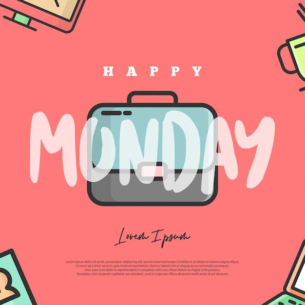 幸せな月曜日のイラスト。この図は、月曜日が悲しい、あるいは月曜日が嫌いな人、特にオフィスワーカーを対象としています。 Premiumベクター