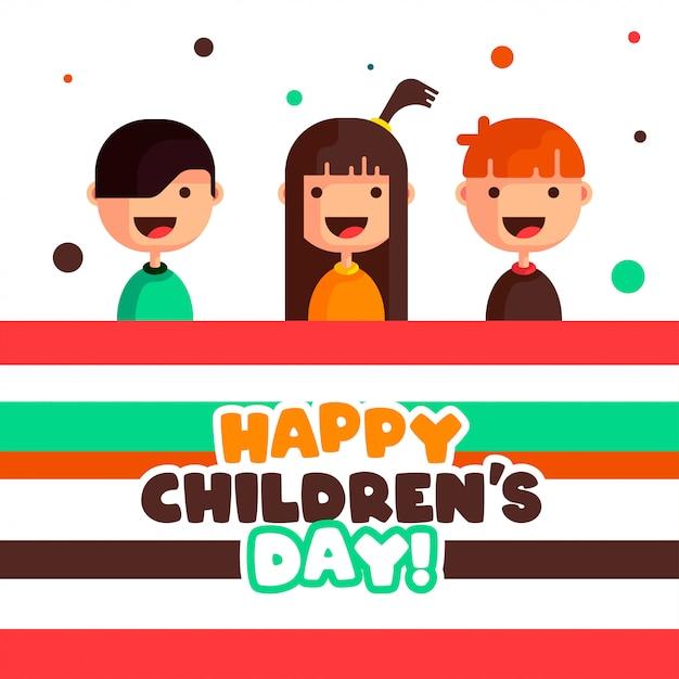 Счастливый детский день иллюстрации вектор Premium векторы