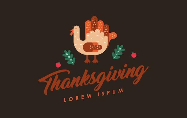 幸せな感謝祭の図 Premiumベクター