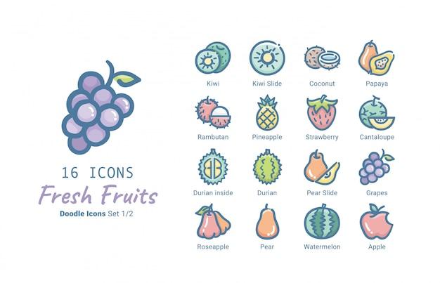 Свежие фрукты векторная коллекция иконок Premium векторы