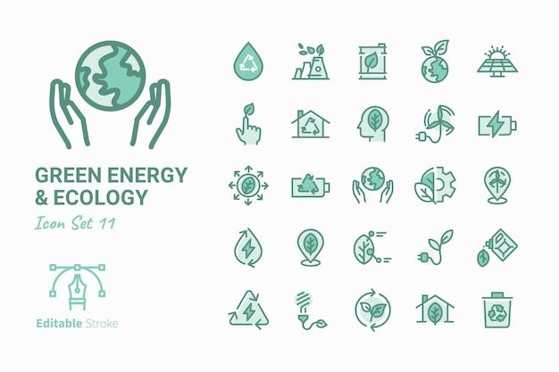 グリーンエネルギー&エコロジーベクトルアイコンコレクション Premiumベクター