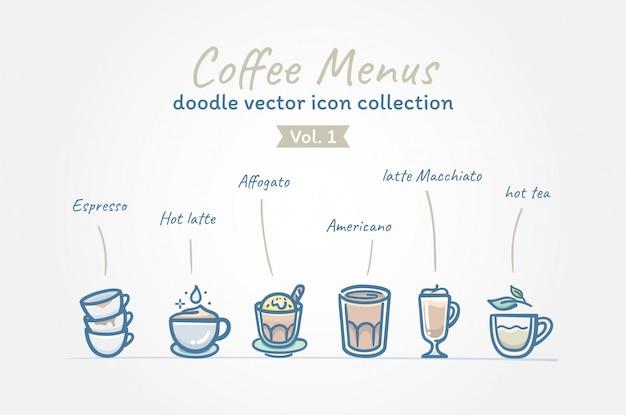 Кофейное меню каракули вектор значок коллекции Premium векторы