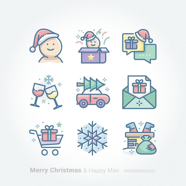 メリークリスマスとハッピーマンコレクション Premiumベクター