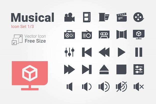 Музыкальная коллекция векторных иконок с солидным стилем Premium векторы