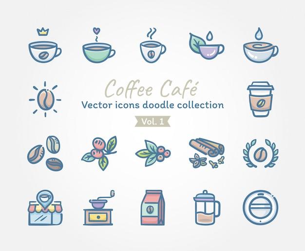 コーヒーカフェベクトルアイコン落書きコレクション Premiumベクター