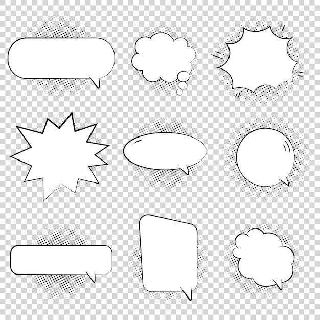Коллекция комиксов в стиле речи и мысли пузырьков Premium векторы