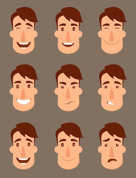 アバターのセットです。男性キャラクター人の顔、男、男の子、人、 Premiumベクター