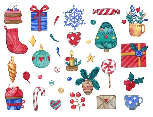 クリスマスツリーを含むかわいい水彩クリスマスオブジェクト Premiumベクター