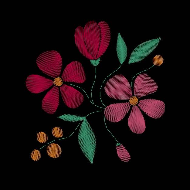 野の花、春の花の刺繍ステッチ Premiumベクター