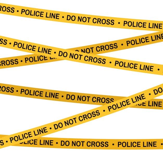 犯罪現場の黄色いテープ、交番テープクロスしないでください。フラットスタイルを漫画します。白のベクトルの背景。 Premiumベクター