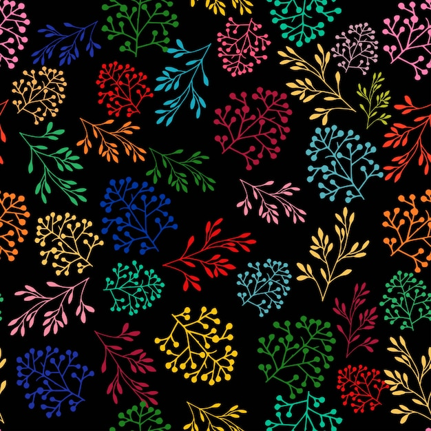 美しい花植物植物のシームレスパターン Premiumベクター