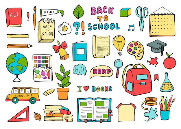 学校のアイコン。教育用品は、トレンディな落書きスタイルに設定します。 Premiumベクター