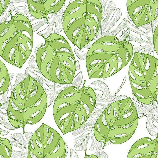 白い背景の上の緑のジャングルのヤシの葉。現代のシームレスな熱帯パターン。 Premiumベクター