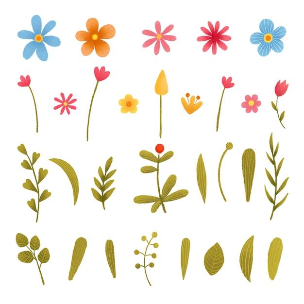 花と植物セット。葉とのコレクション。招待状、結婚式やグリーティングカードのための春や夏のデザイン。 Premiumベクター