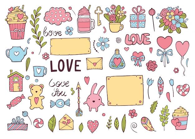 カラフルな結婚式の日やバレンタインの休日セット。カード、招待状、プリントのかわいい落書きアイコンコレクション Premiumベクター