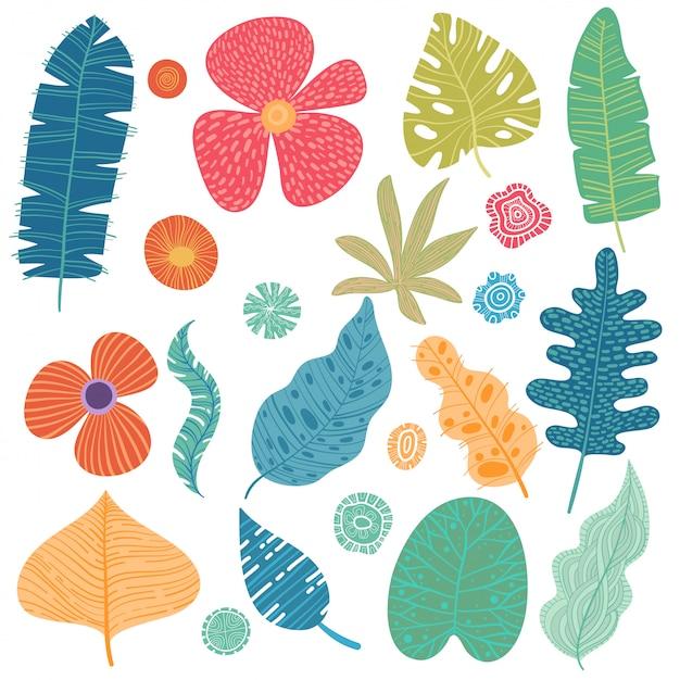 熱帯の葉のセット。漫画の熱帯雨林の葉に孤立した白い背景。 Premiumベクター