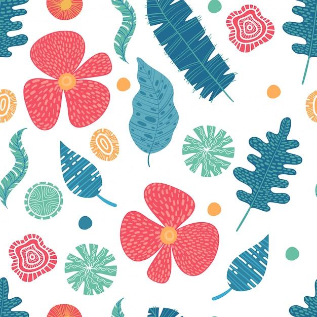 Экзотические цветы гибискуса и плюмерии банановые листья синего лайма цвет тропический бесшовный фон. пляжная вечеринка фон Premium векторы