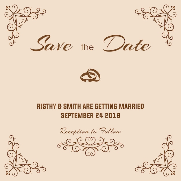 豪華な結婚式の招待状 Premiumベクター