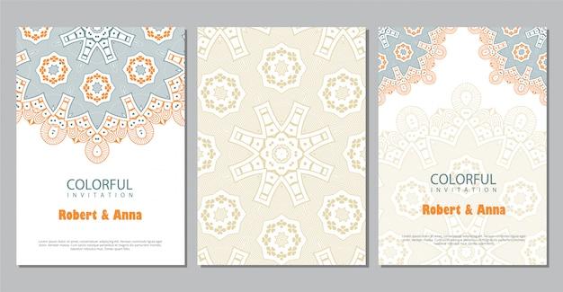 カラフルなマンダラの結婚式の招待状のテンプレート。 Premiumベクター