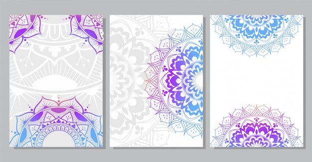 Красочный фон мандалы для обложки книги, свадебного приглашения, флаера, открытки, баннера или вашей презентации Premium векторы