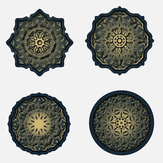Орнамент мандалы дизайн, лазерная резка украшения Premium векторы