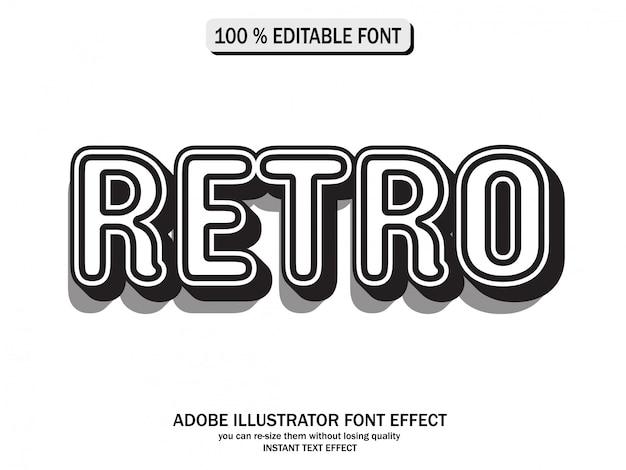 黒と白のビンテージテキストスタイル、未来的な効果と編集可能なテキスト Premiumベクター