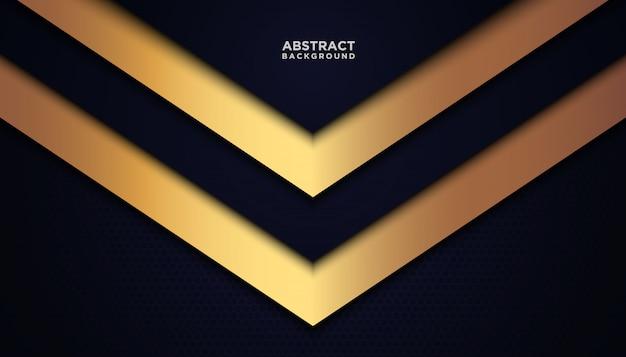 青い重複レイヤーと暗い抽象的な背景。黄金の効果要素の装飾を持つテクスチャー。 Premiumベクター