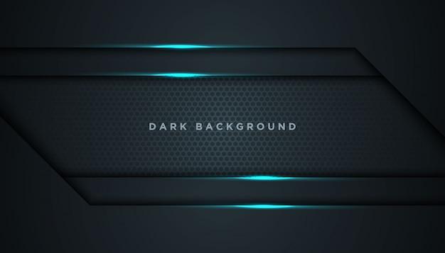 オーバーラップレイヤーと暗い抽象的な背景 Premiumベクター